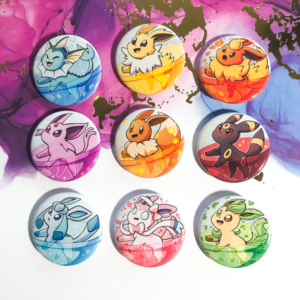 Pokemon Eeveelution Gachapon Buttons