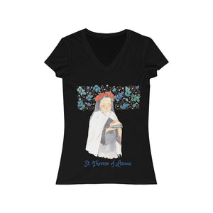 St. Therese of Lisieux - Women's V-Neck T-Shirt