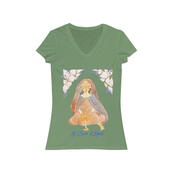 St. Clare of Assisi - Women's V-Neck T-Shirt