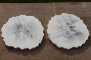 Resin marble coaster set
