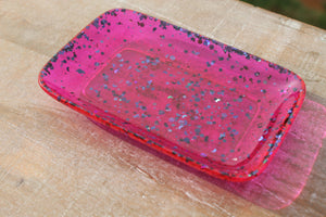 Soap dish/trinket tray - pink w/ black glitter