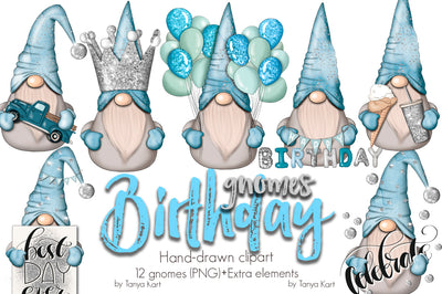 Blue Birthday Nordic Gnomes Icons