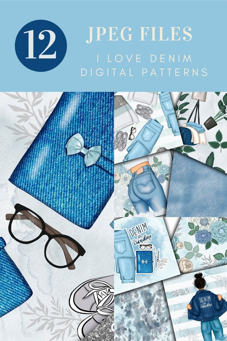 I love Denim Digital Paper Pack