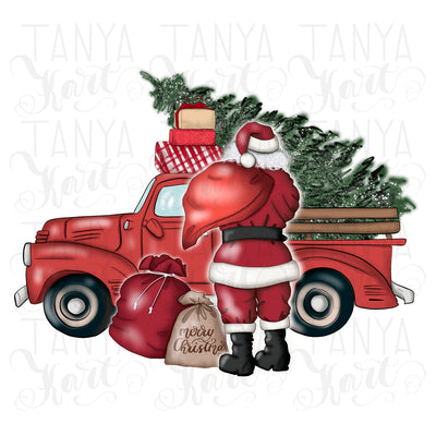 Santa's Car With Christmas Tree Sublimation