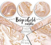 Beige And Gold Marble Digital Papers