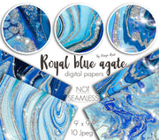 Royal Blue Agate Digital Papers