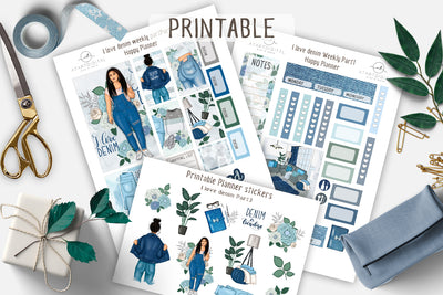 I love Denim Light skin Printable Kit Happy Planner