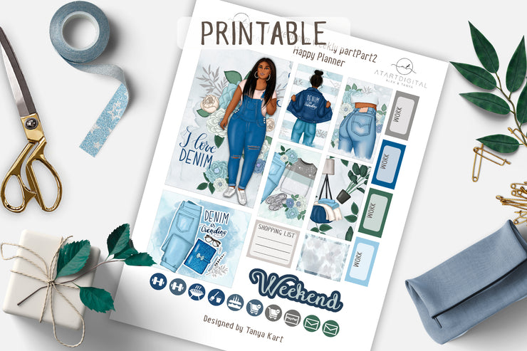 I love Denim Weekly Printable Kit Happy Planner