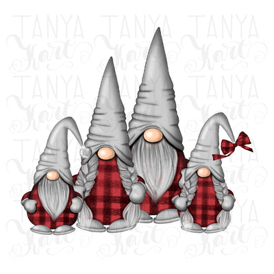 Family Gnomes Plaid Sublimation Christmas
