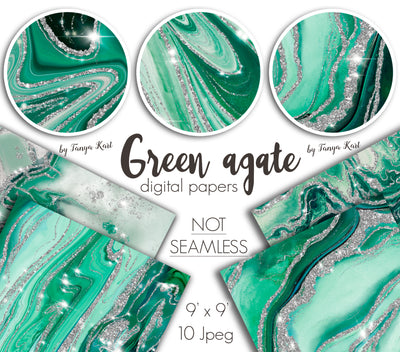 Green Agate Digital Papers