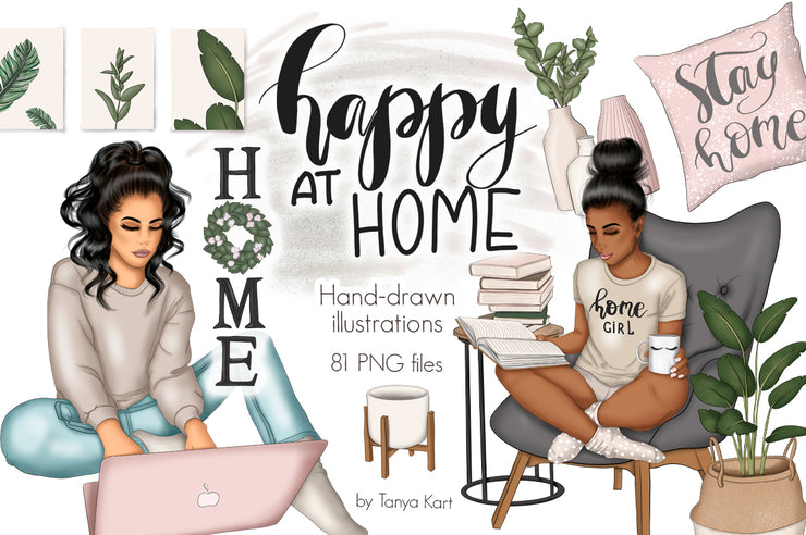 Happy at Home Hand-drawn Clipart