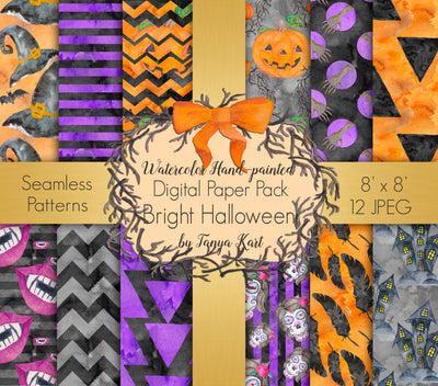 Watercolor Halloween Digital Paper