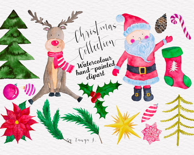 Christmas Collection Watercolor Hand-Painted Clipart