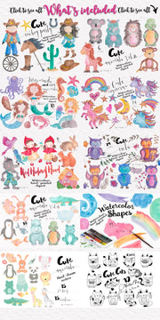 Watercolor Bundle Cute Animals Hand-Painted Illustrations Sale