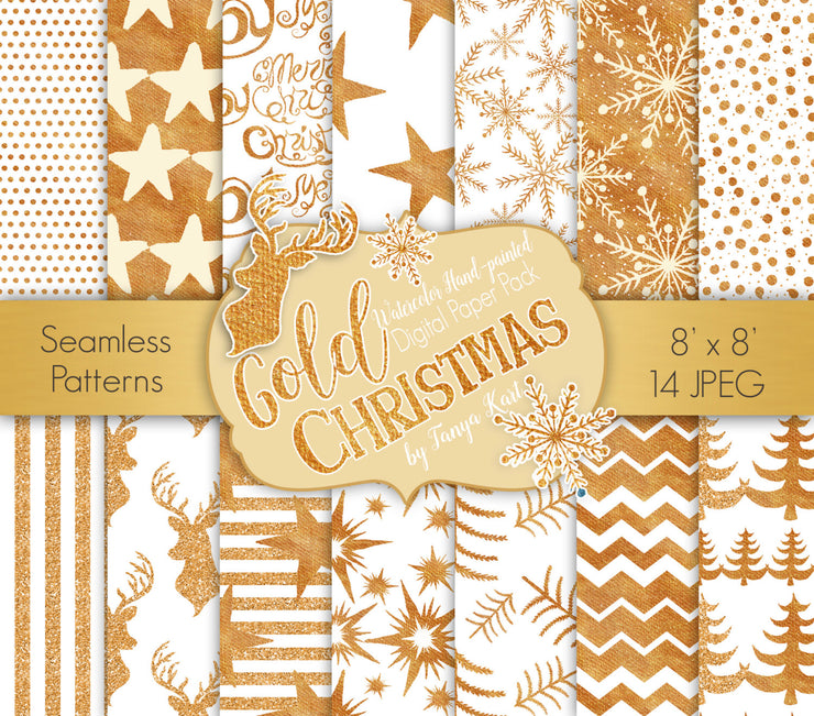 Gold Christmas Digital Paper