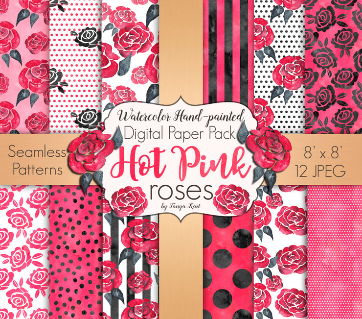 Hot Pink Roses Digital Paper