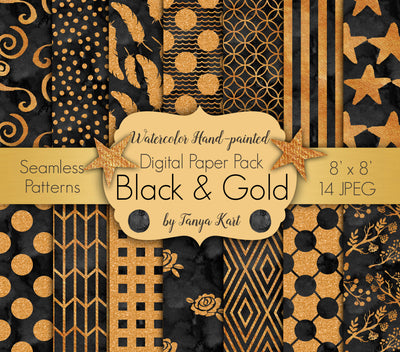Black And Gold Digital Paper Pack