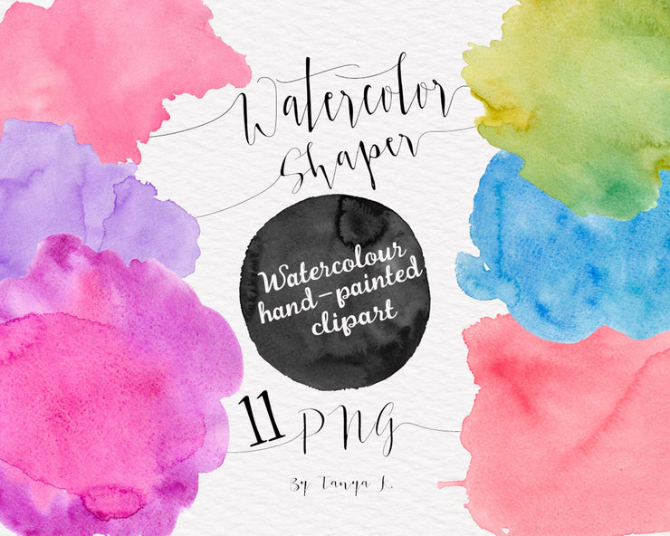 Watercolor Shapes Colorful Clipart