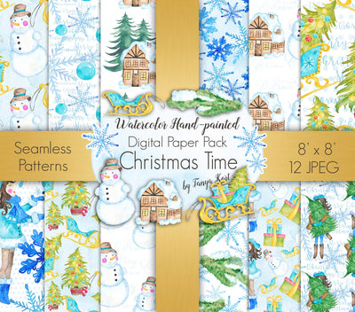 Christmas Time Winter Digital Paper