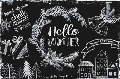 Hello Winter Chalk Christmas Clipart