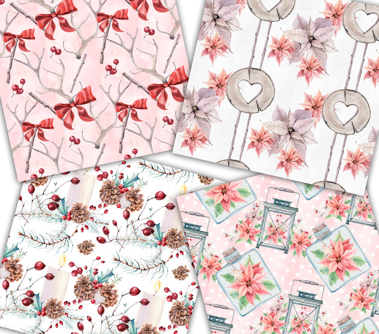 Holly Pink Christmas Paper