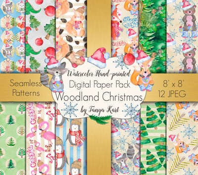 Woodland Christmas Digital Paper