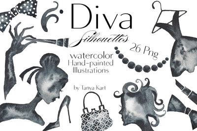 Diva Silhouettes Watercolor Hand-Painted Illustrations