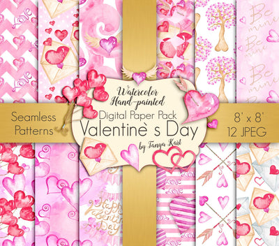 Pink Valentine's Day Watercolor Digital Paper