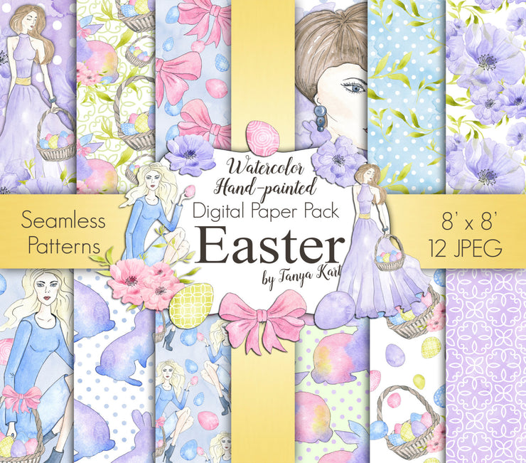 Digital Paper Easter Watercolor