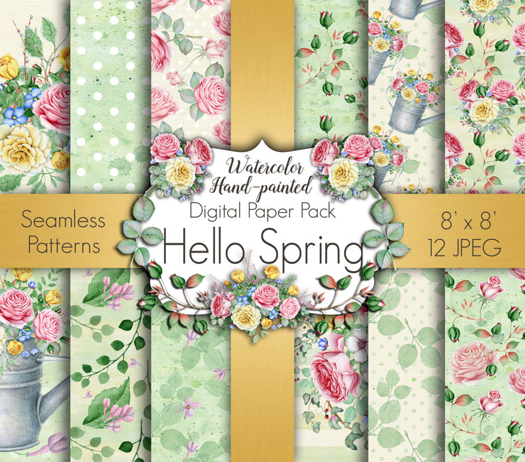Hello Spring Digital Paper