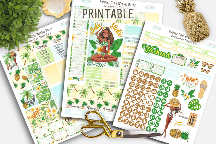 Summer Weekly Kit Erin Condren Life Planner Dark Skin Toned
