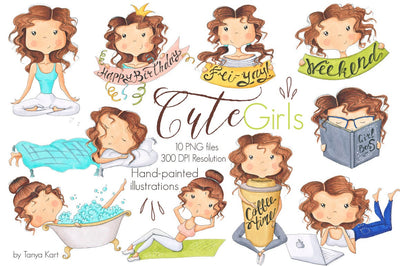 Cute Girls Activities Clipart