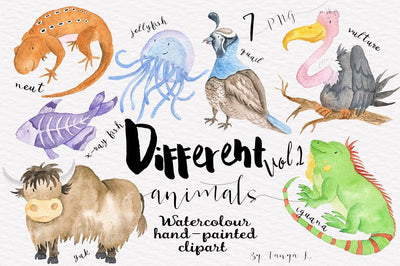 Different Watercolor Animals Clipart