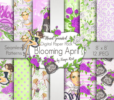 Blooming April Spring Digital Paper Pack