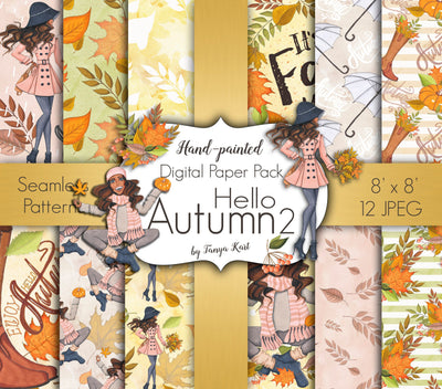 Hello Autumn Digital Paper - Dark Skin Toned