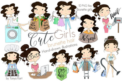 Cute Planner Stickers Brunette Hair