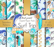 Surf Trip Digital Paper