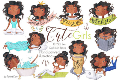 Girls Activities Dark Skin Tone Clipart