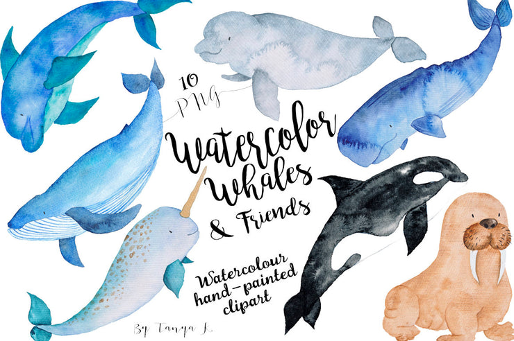 Watercolor Whales & Friends Nautical Clip Art