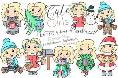 Cute Blonde Hair Girls Winter Season Clipart