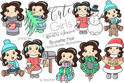 CUTE BRUNETTE HAIR GIRLS WINTER SEASON CLIPART