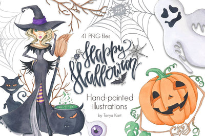 Happy Halloween Hand-Painted Illustrations