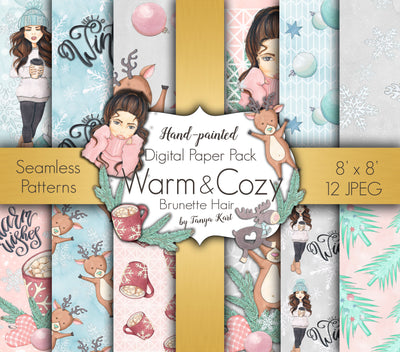 Warm and Cozy Brunette Hair Digital Paper