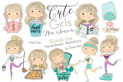 Cute Girls New Season Clipart