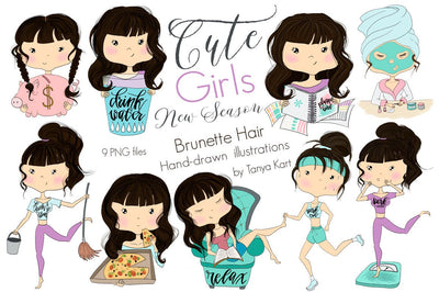 Planner Brunette Hair Girls