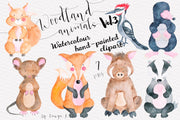 Woodland Watercolor Animals Clipart