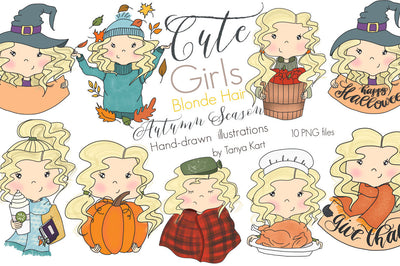 Blonde Hair Girls Thanksgiving Clipart