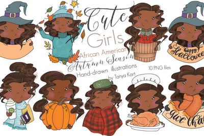 African American Autumn Girls Clipart