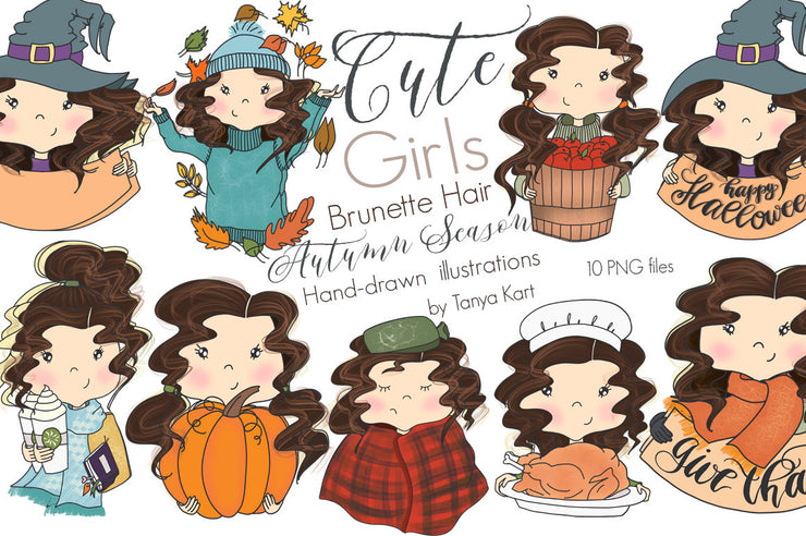 Autumn Girls Clipart Brunette Hair