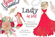 Lady In Red Hand-Painted Clipart